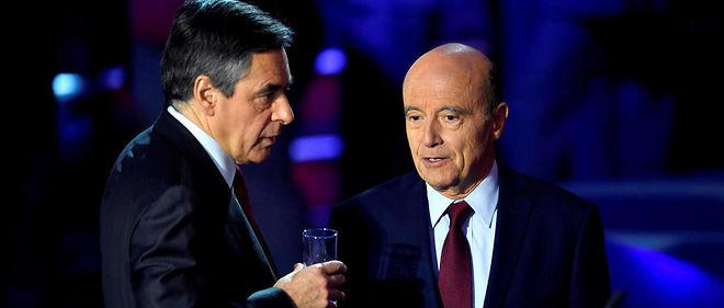 François Fillon et Alain Juppé lors du deuxième débat de la primaire de la droite.