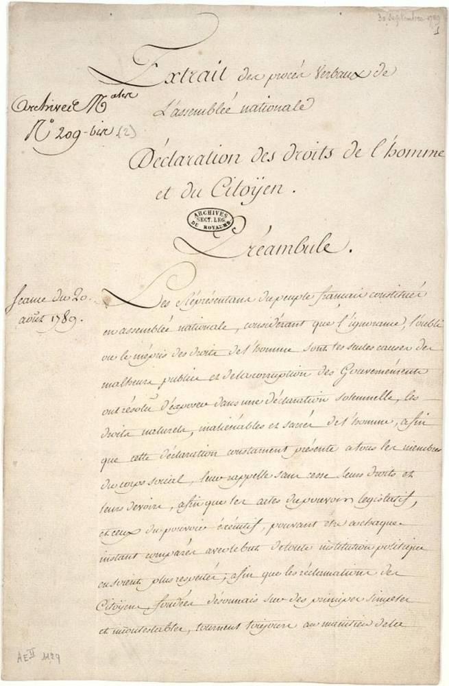 Déclaration des droits de l'homme et du citoyen de 1789 ©  DR