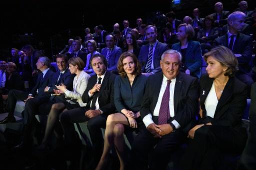 De GàD: Luc Chatel, Nathalie Kosciusko-Morizet, Jean-Pierre Raffarin et Valérie Pécresse lors du débat télévisé de l'entre-deux-tours de la primaire de la droite et du centre le 24 novembre 2016 à Paris © ERIC FEFERBERG POOL/AFP