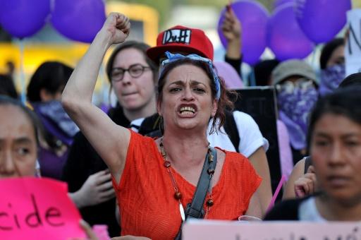 Une manifestante crie sa colère lors du rassemblement à Mexico contre la violence faite aux femmes, le 25 novembre 2016 © PEDRO PARDO AFP