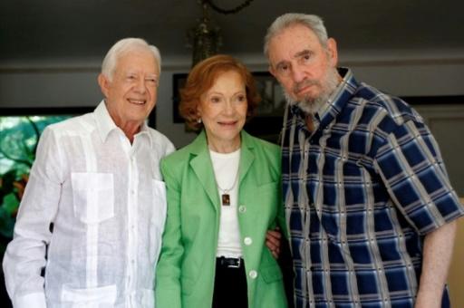 A quelques rares exceptions près, comme le démocrate Jimmy Carter (G), ici à La Havane le 30 mars 2011, avec sa femme Rosalyn, tous les présidents américains ont essayé de faire céder Cuba en renforçant les rétorsions économiques et commerciales © ALEX CASTRO www.cubadebate.cu/AFP/Archives