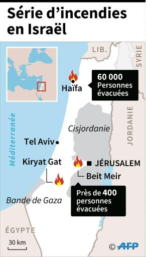 Localisation des principaux indencies survenus et nombre de personnes évacuées depuis 4 jours en Israël  © Thomas SAINT-CRICQ, Frédéric BOURGEAIS, Sophie RAMIS AFP