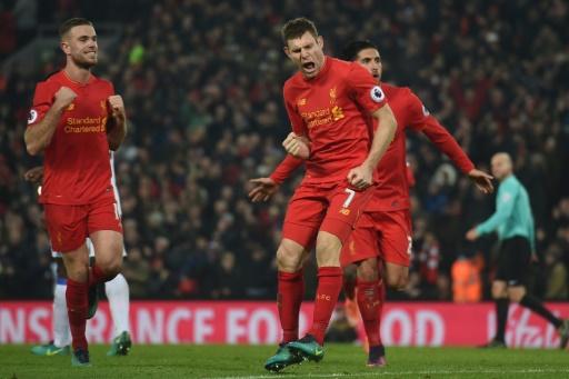 La rage de James Milner après avoir marqué le 2e but de Liverpool contre Sunderland à Anfield, le 26 novembre 2016 © Paul ELLIS                        AFP