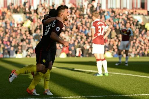 Sergio Aguëro double buteur pour Manchester City à Burnley, le 26 novembre 2016 © Oli SCARFF                           AFP