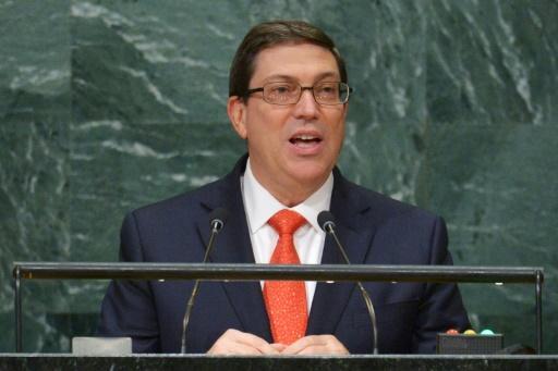 Bruno Rodriguez Parrilla lors d'une allocution à l'occasion de l'Assemblée générale de l'ONU le 22 septembre 2016, à New York. Âgé de 58 ans, ministre des Affaires étrangères depuis 2009, membredubureau politiqueetduConseil d'État © DOMINICK REUTER AFP/Archives
