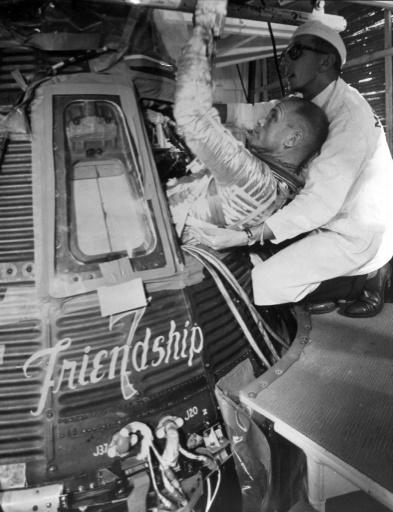John Glenn durant un entraînement, le 20 février 1962 à Cape Canaveral © HO NASA/AFP/Archives