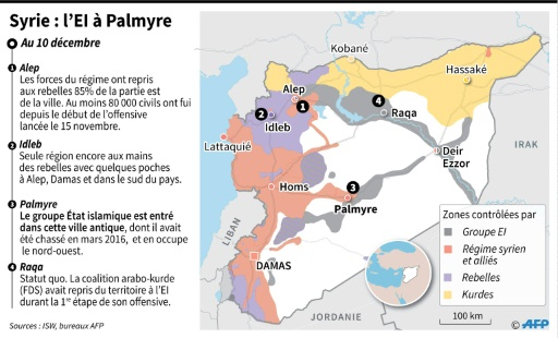 Les points du conflit en Syrie et contrôle des territoires  © Thomas SAINT-CRICQ, Sophie RAMIS AFP