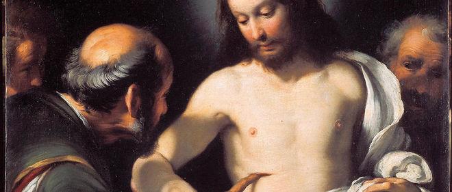 """L'Incrédulité de saint Thomas"" (détail). Peinture de Bernardo Strozzi (1581-1644). Gênes, Musei di Strada Nuova (ex-Palazzo Bianco)."