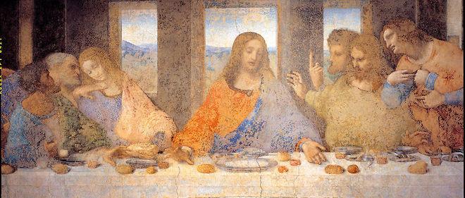 """""""La Cène"""" (1494-1498), dernier repas de Jésus avec ses apôtres. Fresque de Léonard de Vinci au Réfectoire de Santa Maria delle grazie, Milan."""
