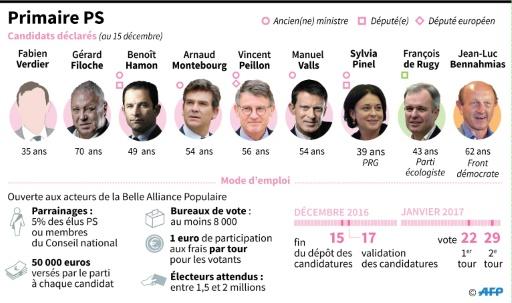 Les modalités de la primaire PS et les 9 candidats déclarés au 15 décembre © Laurence SAUBADU, Paz Pizarro, Paul DEFOSSEUX AFP