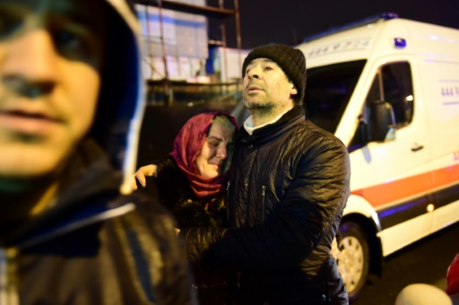 Devant la discothèque Reina d'Istanbul, le 1er janvier 2017, peu après l'attentat © YASIN AKGUL AFP