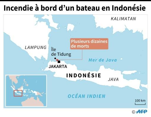 Carte localisant l'incendie a bord d'un navire ayant fait des dizaines de morts dimanche entre Jakarta et l'ile de Tidung © Vincent LEFAI, Jonathan JACOBSEN, Iris ROYER DE VERICOURT AFP