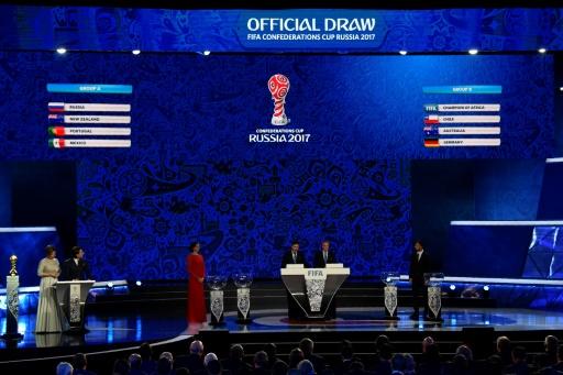 Le tableau du tirage au sort de la Coupe des Confédérations effectué à Kazan, le 26 novembre 2016 © Alexander NEMENOV AFP/Archives