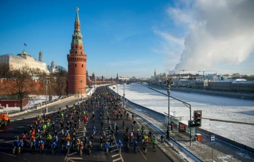 Parade à vélo, le 8 janvier 2017 à Moscou © Alexander UTKIN AFP