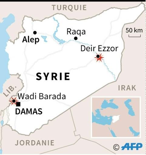Localisation des affrontements entre régime et rebelles dans la région de Damas, et de l'avancée du groupe EI vers Deir Ezzor.  © afp AFP