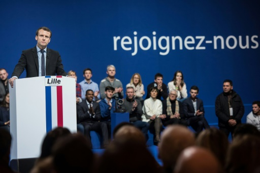 Emmanuel Macron en meeting pour la présidentielle le 14 janvier 2017 à Lille © DENIS CHARLET AFP/Archives