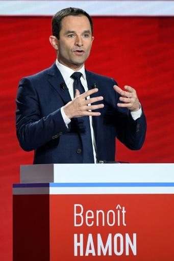 Benoit Hamon lors du deuxième débat télévisé de la primaire du PS et de ses alliés, le 15 janvier 2017, à Paris. © bertrand GUAY AFP