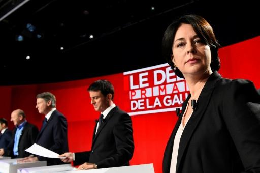 Sylvia Pinel lors du deuxième débat télévisé de la primaire du PS et de ses alliés, le 15 janvier 2017, à Paris. © bertrand GUAY AFP