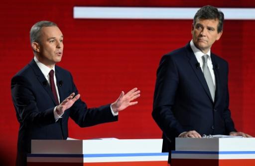 François de Rugy et Arnaud Montebourg lors du deuxième débat télévisé de la primaire du PS et de ses alliés, le 15 janvier 2017, à Paris. © bertrand GUAY AFP