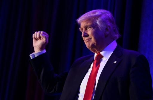 Donald Trump le 9 novembre 2016 à l'hôtel Hilton de New York © SAUL LOEB AFP/Archives