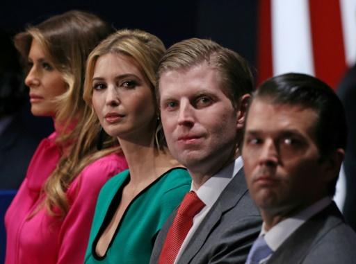 De gauche à droite: Melania Trump, Ivanka Trump, Eric Trump et Donal Trump Jr., à New York, le 9 octobre 2016 © Tasos Katopodis AFP/Archives