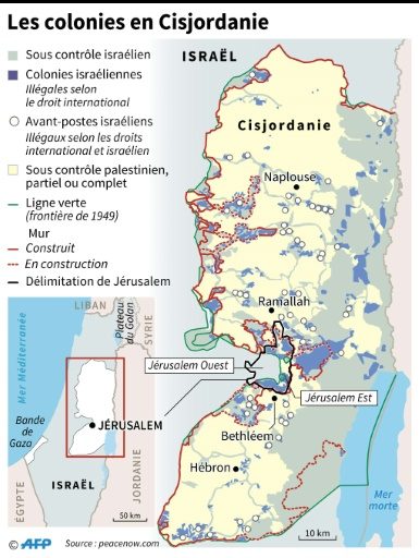 Les colonies israéliennes en Cisjordanie © Kun TIAN, Gillian HANDYSIDE AFP