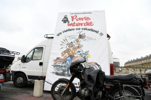 Manifestation des motards à Paris, le 16 janvier 2017 contre les restrictions de circulation  © ALAIN JOCARD AFP