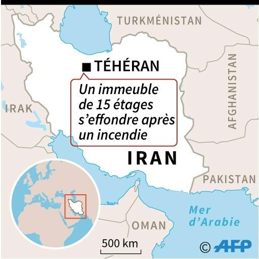Localisation de Téhéran en Iran, où des pompiers ont été tués jeudi par l'effondrement d'un immeuble de 15 étages provoqué par un incendie © AFP AFP