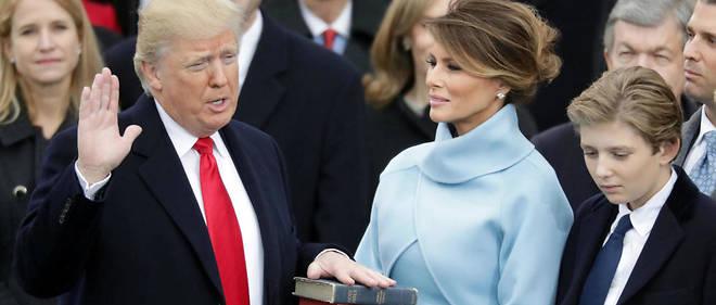 Donald Trump, son épouse Melania et leur fils Barron lors de la cérémonie d'investiture du 45e président américain, le 20 janvier.