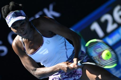 Venus Williams lors du match l'opposant à Anastasia Pavlyuchenkova le 24 janvier 2017 à  Melbourne  © GREG WOOD AFP
