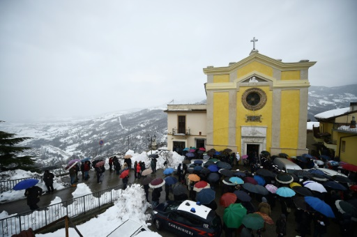 Obsèques d'Alessandro Giancaterino à Farindola, le 24 janvier 2017 © FILIPPO MONTEFORTE AFP