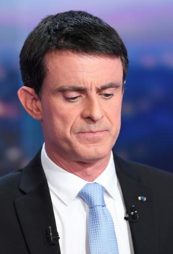 """""""Je défendrai aussi une vision de la laïcité que je veux incarner, la lutte contre le communautarisme"""", insiste Manuel Valls, répétant à l'envi les """"ambiguïtés"""" et les """"risques d'accommodements"""" de son adversaire © Lionel BONAVENTURE AFP/Archives"""
