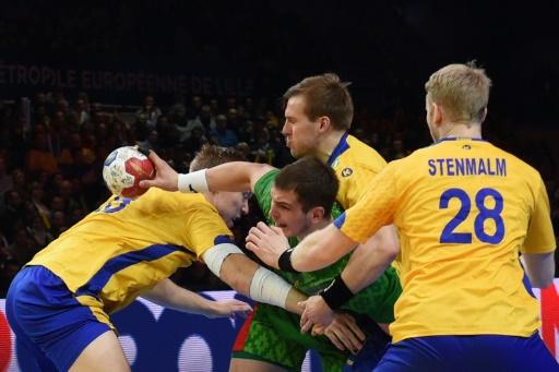 Les Suédois face à la Biélorussie, en 8e de finale du Mondial, le 22 janvier 2017 à Lille © François LO PRESTI AFP/Archives