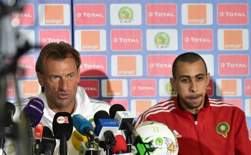 Le coach Hervé Renard (Maroc), en conférence de presse de veille de match à Oyem, le 23 janvier 2017 © ISSOUF SANOGO AFP