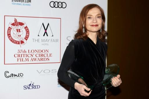 L'actrice française Isabelle Huppert, le 22 janvier 2017 à Londres © NIKLAS HALLE'N AFP