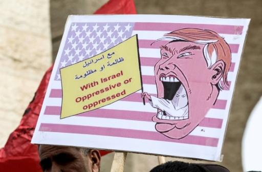 Manifestation de Palestiniens contre Donald Trump le 24 janvier 2017 à Rafah dans la bande de Gaza © SAID KHATIB AFP