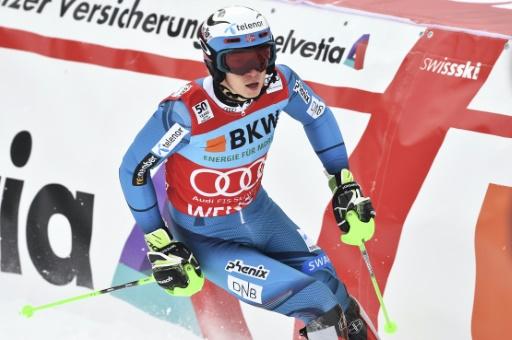 Le jeune Norvégien Henrik Kristoffersen à l'issue du slalom géant de Wengen, en Suisse, le 15 janvier 2017 © François-Xavier MARIT AFP/Archives