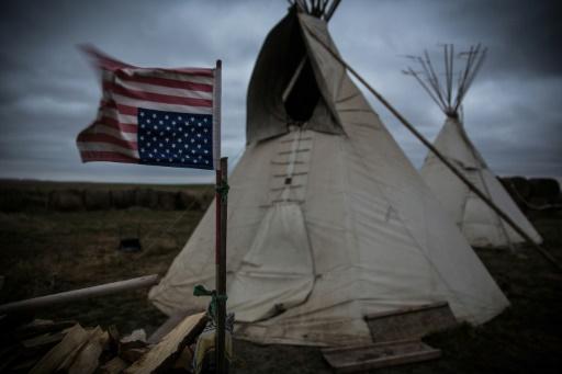 Camp spirituel mis en place par des tribus autochtones amérindiennes pour protester contre le projet de pipeline Keystone XL près du lieu où passerait l'oléoduc à Winner dans le sud du Dakota, le 12 octobre 2014 © Andrew Burton GETTY IMAGES NORTH AMERICA/AFP