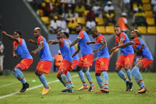 Les joueurs de la RD Congo fêtent un but contre le Togo lors de la CAN, le 24 janvier 2017 à Port-Gentil © Justin TALLIS AFP