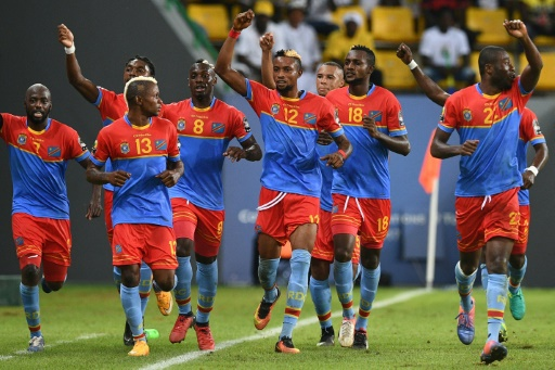 La joie des joueurs de la RD Congo après un but contre le Togo lors de la CAN, le 24 janvier 2017 à Port-Gentil © Justin TALLIS AFP