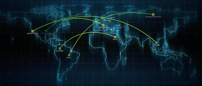 Champ de bataille. Cette carte des cybermenaces est développée par le groupe californien FireEye, qui travaille notamment avec l'Otan.