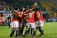 La joie et le soulagement des Égyptiens, qui ont attendu la 89e minute pour marquer et l'emporter face à l'Ouganda, samedi soir.