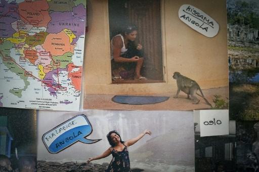 Souvenirs de la vie en Angola de Marina Pereira sur un mur de son appartement, le 14 décembre 2016 à Lisbonne © PATRICIA DE MELO MOREIRA AFP/Archives