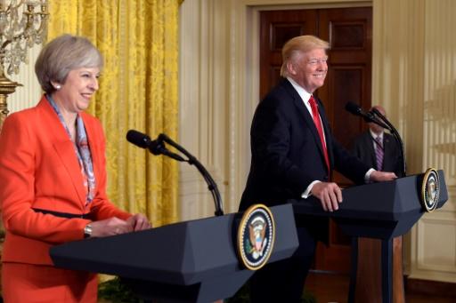 La Première ministre britannique Theresa May avec Donald Trump, le 27 janvier 2017 à Washington  © MANDEL NGAN AFP/Archives