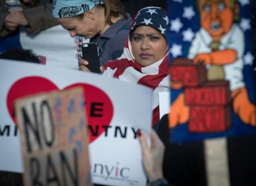 Manifestation à Washington contre le décret anti-immigration signé par le président Trump, le 29 janvier 2017 © Bryan R. Smith AFP