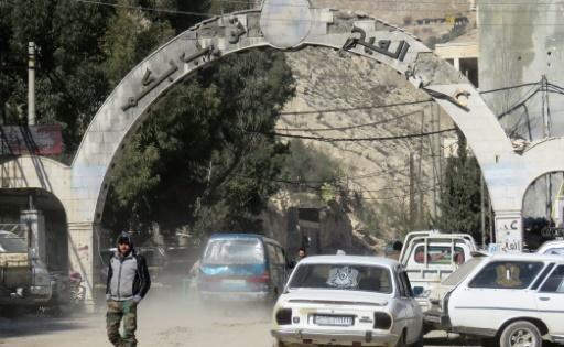 l'entrée de la ville d'Ain al-Fijeh dans la région de Wadi Barada le 29 janvier 2017 © STRINGER AFP