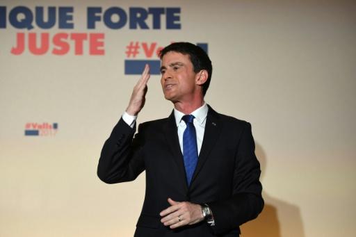 Manuel Valls au soir de sa défaite au second tour de la primaire PS le 29 janvier 2017 à Paris © Eric FEFERBERG AFP