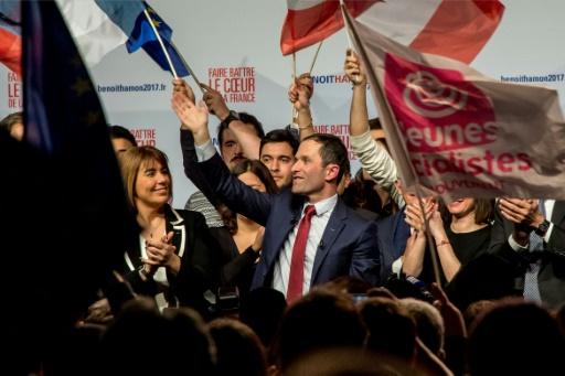 Benoît Hamon, vainqueur de la primaire élargie du PS, le 29 janvier 2017 à Paris © PHILIPPE HUGUEN AFP