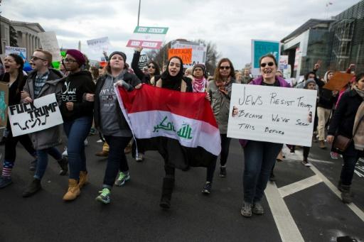 Manifestation de soutien aux musulmans empêchés d'entrer sur le territoire américain par le décret migratoire de Donald Trump, le 29 janvier 2017 à Washington © Chet Strange AFP