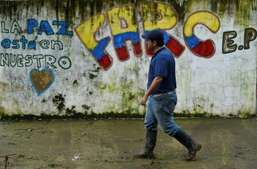 Un graffiti à Policarpa, en Colombie, le 17 janvier 2017 © LUIS ROBAYO AFP